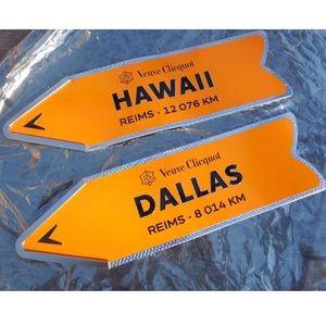 Veuve Clicquot tin bar signs- Hawaii and Dallas